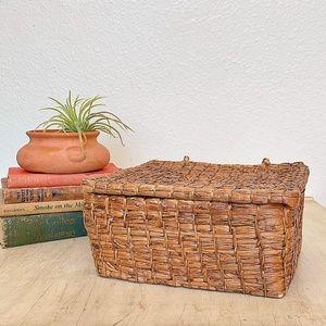Vintage Seagrass Storage Basket w/ Attached Lid.